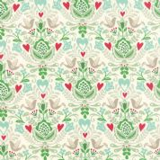 Moda North Woods by Kate Spain - 4803 - Stylised Winter Floral with Doves in Green & Aqua on White - 27242 12 - Cotton Fabric